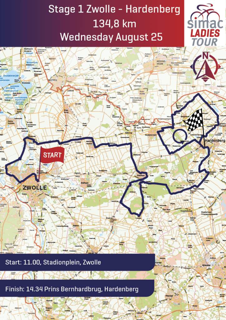 Routekaart Simac Ladies Tour Zwolle Hardenberg