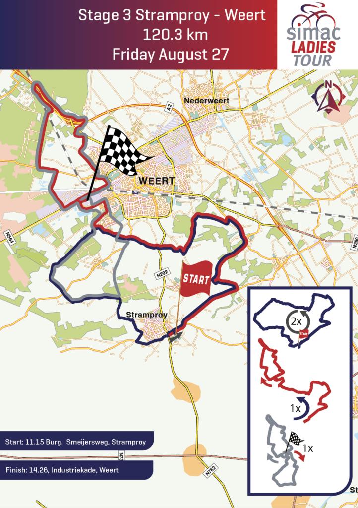 Routekaart Simac Ladies Tour Stramproy Weert